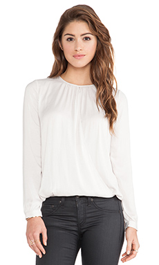Vince Cross Front Drape Blouse in Ivory