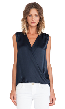 Vince Cross Over Cami Tank in Coastal