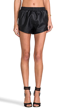 Viparo Bailey Leather Track Shorts in Black