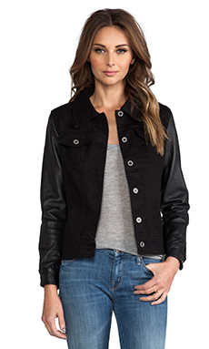 Viparo Anika Denim Leather Sleeve Jacket in Black