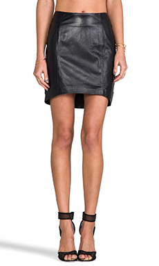 Viparo Ruby Leather Front Tilt Skirt in Black