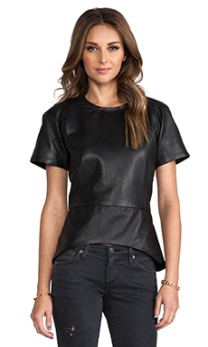 Viparo Bambi Leather Peplum Top in Black
