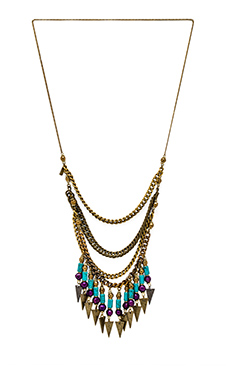 Vanessa Mooney Crossroads Statement Necklace in Gold/Multi