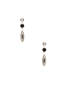 Vanessa Mooney Legends Black Crystal Earrings in Silver