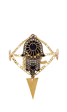 Vanessa Mooney Hand of Fatima Crystal Diamond Bracelet in Gold