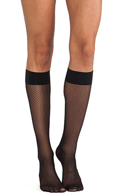 Wolford Sundot Knee Highs in Black & Black