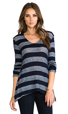 Whetherly Boucle Stripe Ezra Long Sleeve in Navy