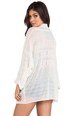 Wildfox Couture Slouch Nude Beach Cardigan in Vintage Lace