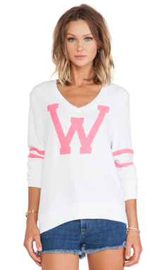 Wildfox Couture x REVOLVE Letterman V Neck Sweater in Clean White & Neon Pink