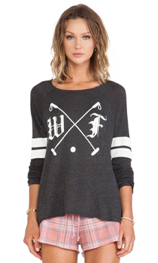 Wildfox Couture Polo Club Long Sleeve in Black