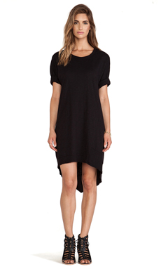 Wilt Slub Dolman Backslant Dress in Black