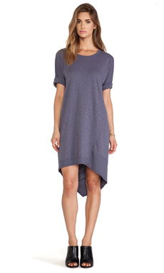 Wilt Slub Dolman Backslant Dress in Smog
