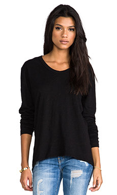 Wilt Slub Jersey Slouchy BF Long Sleeve in Black