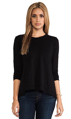 Wilt Long Sleeve Drape Back Tee in Black