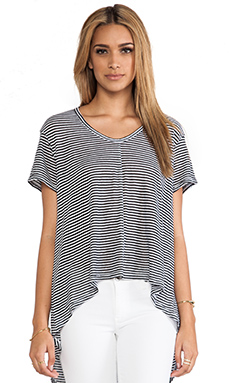 Wilt Deep V Hi-Lo Tee in Black & White Stripe