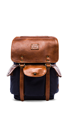 WILL Leather Goods Lennon Backpack in Navy & Tan