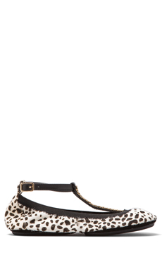 Yosi Samra Calf Hair Flat in Dalmation