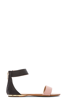 Yosi Samra Cambelle Two Tone Leather Flat in Black & Misty Rose
