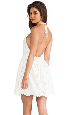 Zimmermann Roamer Halter Dress in White Broderie