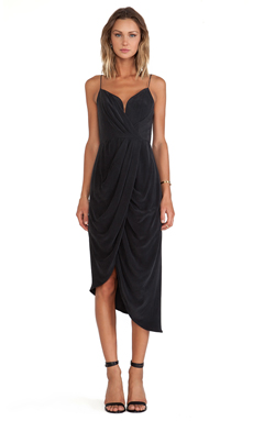 Zimmermann Silk Plunge Drape Dress en Noir