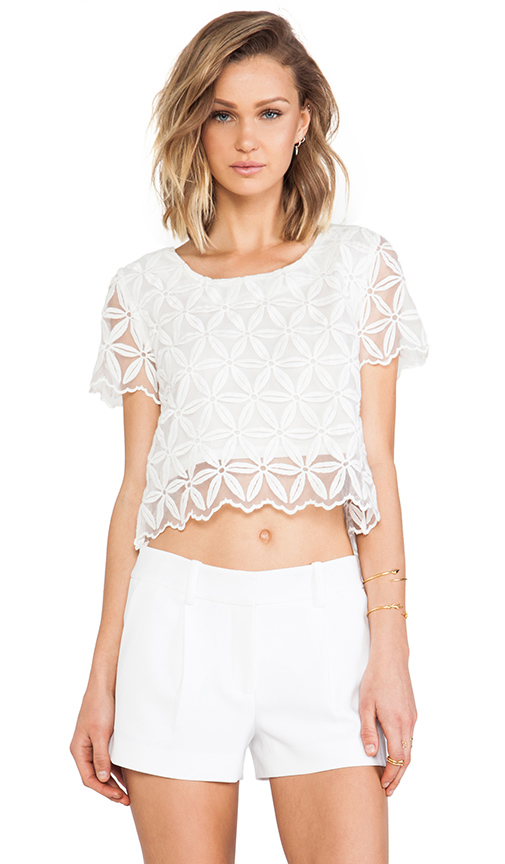 JOA Organza Lace Top in White