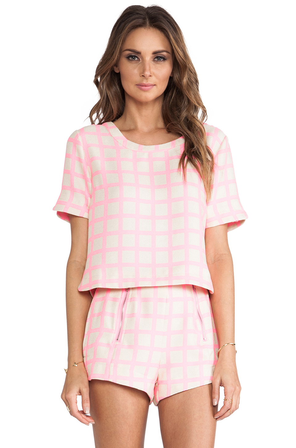 JOA Pink Checked Top in Neon Pink