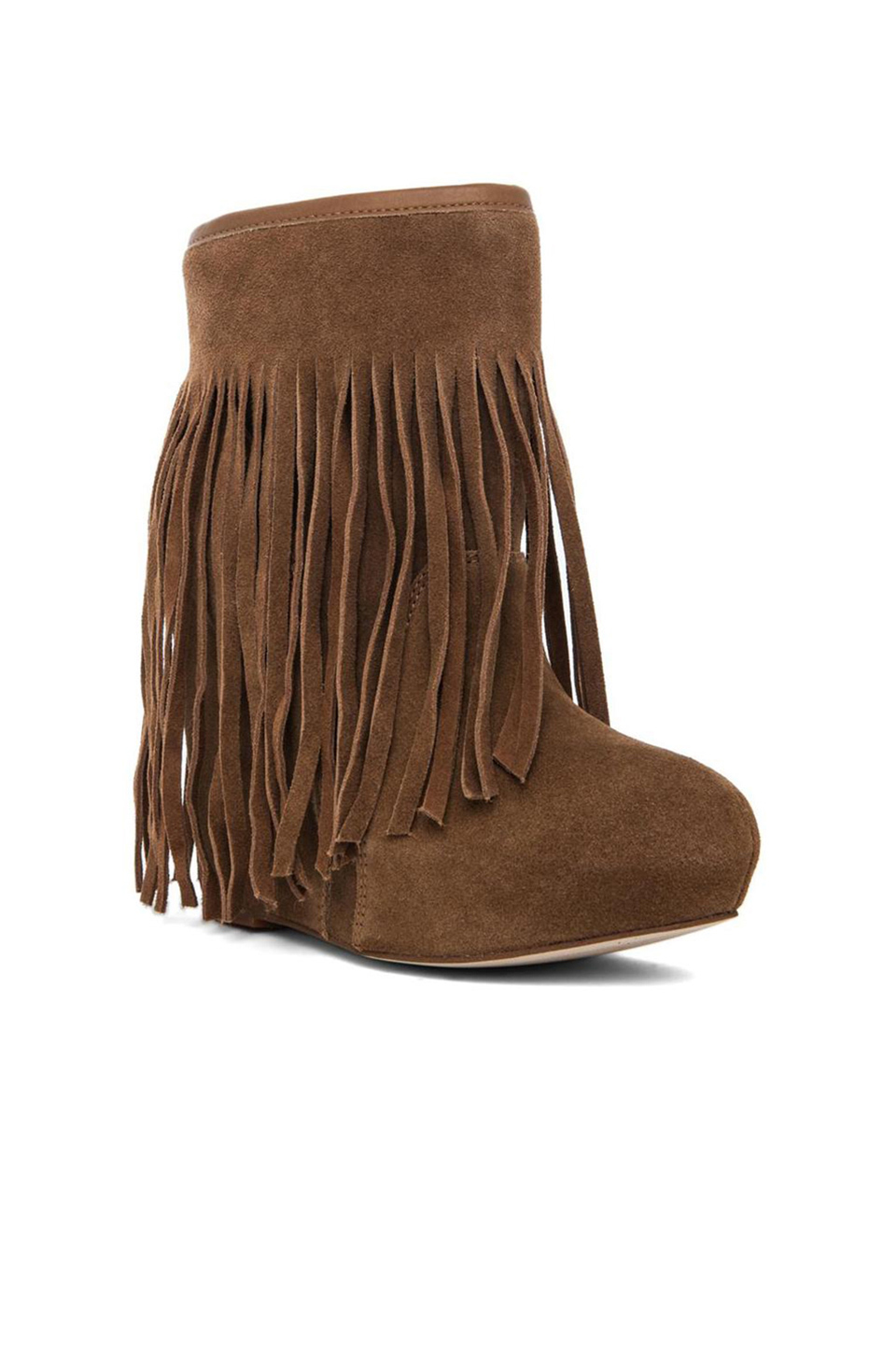 koolaburra veleta fringe wedge boot in chestnut revolve